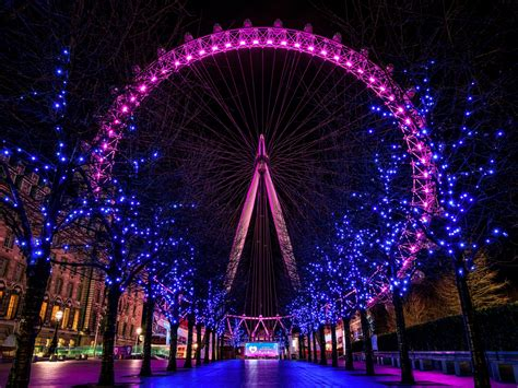 wallpaper london eye night neon lights magenta hue