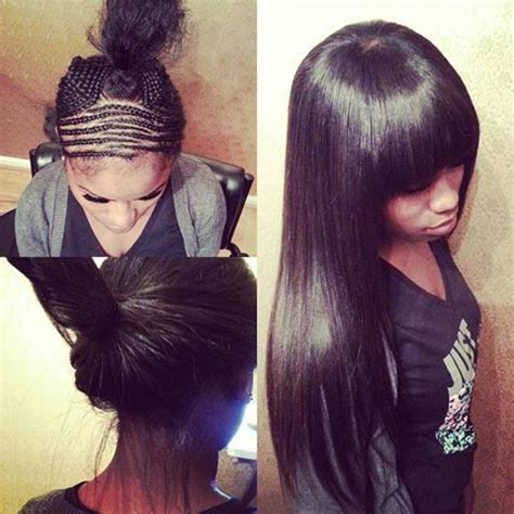 Pull Up Sew In Hairstyles by Sew In With Bangs You Can Pull It Up Or Wear It This