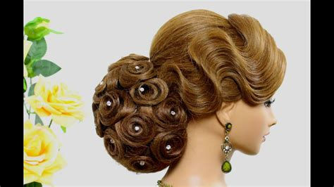 Hairstyle For Long Hair. Bridal Wedding Updo. Tutorial