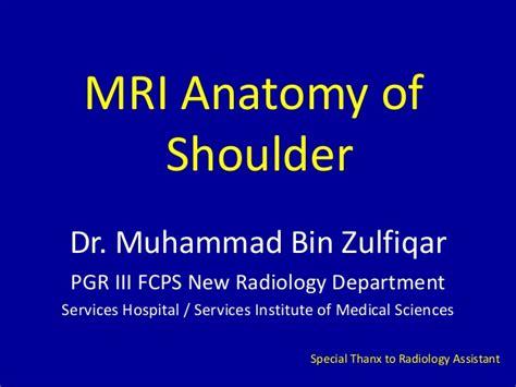 MRI of Shoulder anatomy