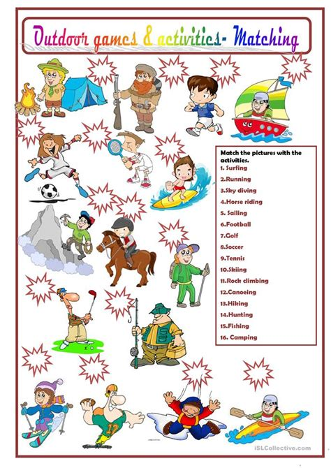 activities worksheets outdoor and activities worksheet free esl printable worksheets made by teachers