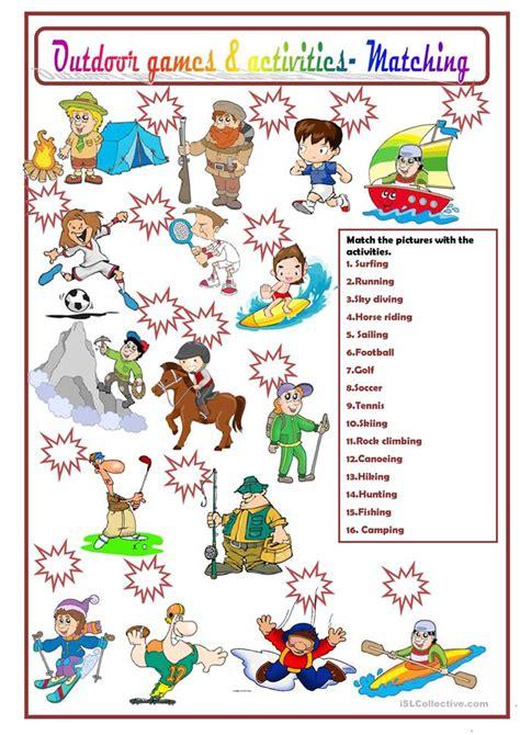 outdoor games  activities worksheet  esl
