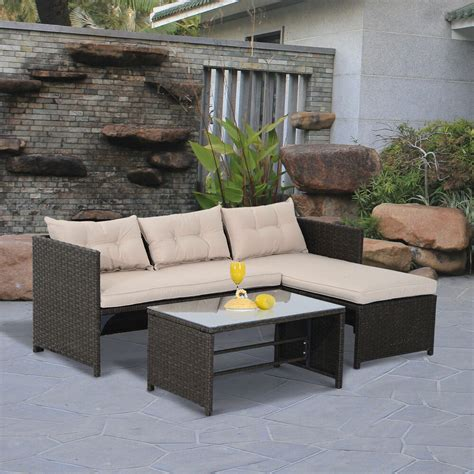 pc outdoor patio sofa set pe rattan wicker deck couch