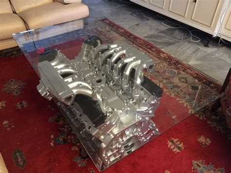 Jaguar  V12 Xjs  Coffee Table With Top In Glass And