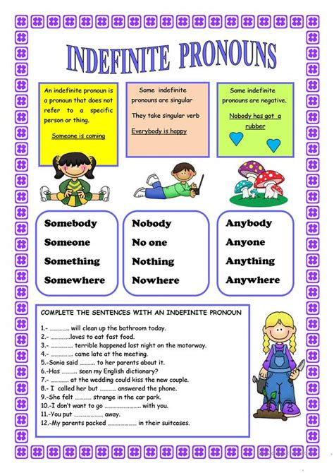 indefinite pronouns worksheet  esl printable