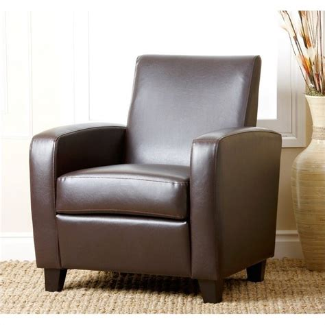 abbyson living capella faux leather club chair in brown