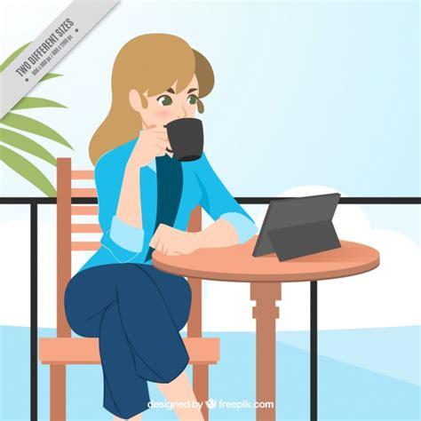 Fondo de mujer de negocios tomando un café Descargar