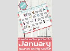 Free Printable January Preschool Activity Calendar Money