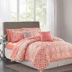 Coral Colored Bedding by Stunning Coral White Modern Geometric Comforter