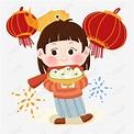 元宵节卡通女孩与汤圆PNG素材图片免费下载_高清psd_千库网(图片编号11646779)