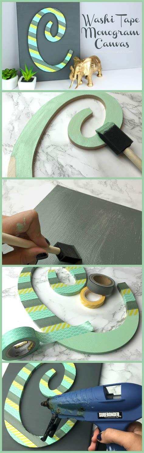 washi tape monogram canvas   craft   day