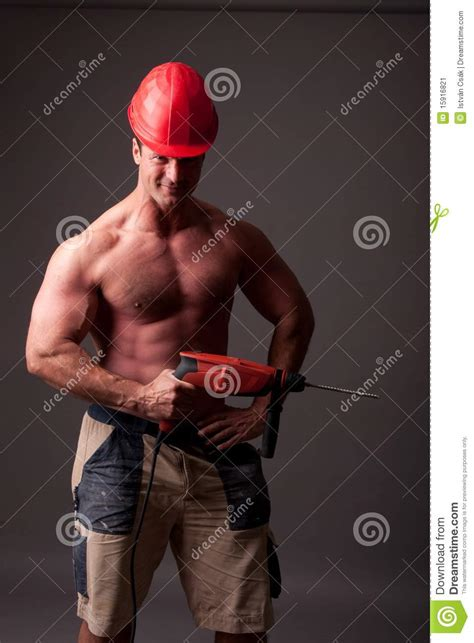 muscular construction worker stock image image