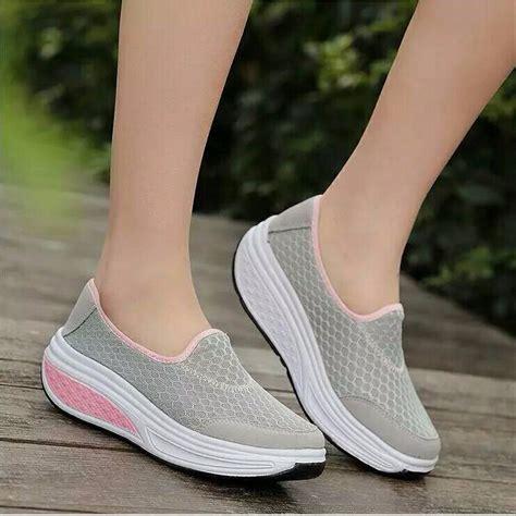 Sepatu Santai Casual Wanita jual sepatu slip on jala simple wedges sneaker cewek