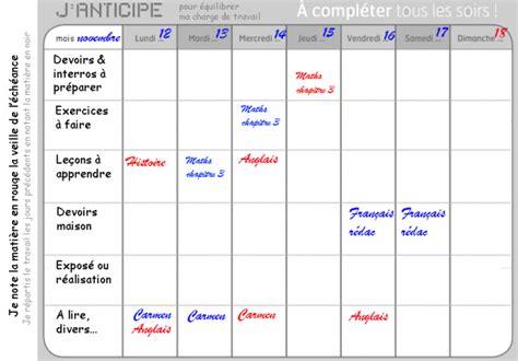 modèle de planning de travail planning travail personnel intellego fr
