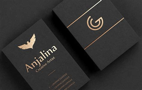 creative gold foil business card mockup design