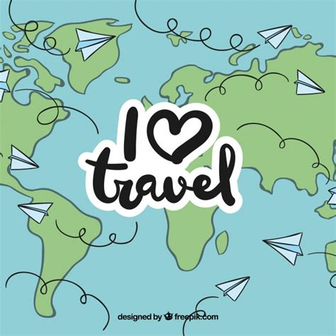 Travel All Over The World By Paper Plane Vector Free