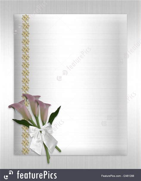 wedding invitation calla lilies white satin illustration