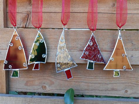 Stained Glass Christmas Tree Ornaments-red-green-clear