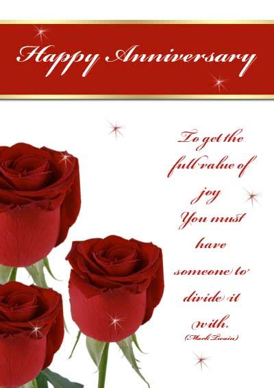 Free Printable Roses Anniversary Cards