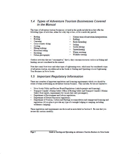 Canadian Business Plan Template by Travel Business Plan Template 9 Free Sle Exle