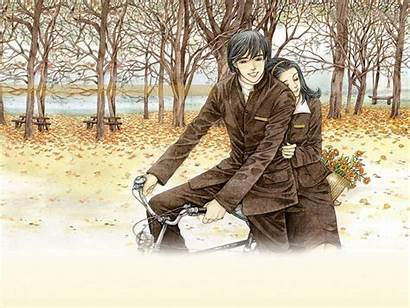 Romantic Drawing Wallpapers Couple Bicycle Drawings Paintings