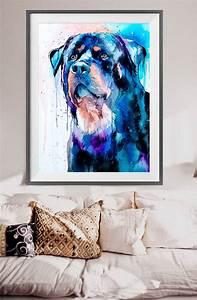 Rottweiler watercolor painting print by Slaveika Aladjova