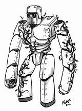 Golem Iron Minecraft Coloring Pages Sketch Mob Drawings Imgur Fan Getdrawings Da sketch template