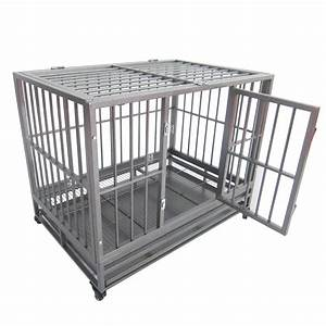 43quot30quot34quot heavy duty metal dog crate pet kennel cage With steel dog crates kennels