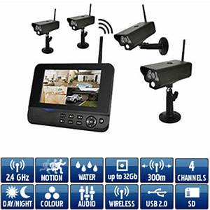 Video Surveillance Sans Fil : kit video surveillance sans fil num rique avec 4 cam ras ~ Dailycaller-alerts.com Idées de Décoration