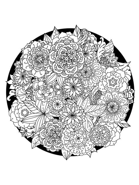 flower mandala coloring pages  adults  printable