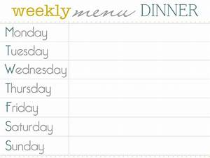 8 best images of dinner menu planner template printable With monthly dinner menu template