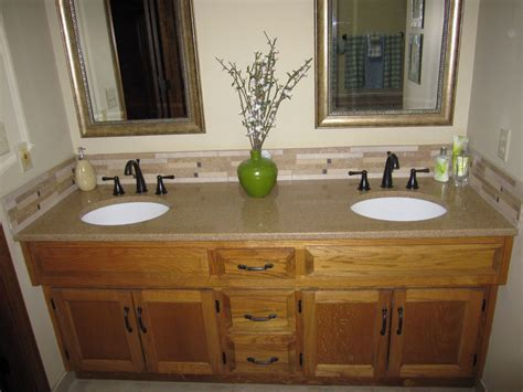Oak Bathroom Light Fixtures by Master Bath Vanity With Granite Rubbed Bronze