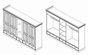 Kleiderschrank 315x217x62cm 4 Holztren 1 Spiegeltr 3