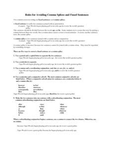 Rules For Avoiding Comma Splices And Fused Sentences Lesson Plan For 8th  9th Grade  Lesson Planet