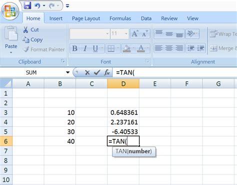 excel vbaformula math functions tan excel macro