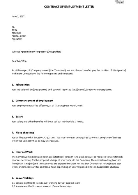 contract  employment appointment letter templates