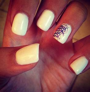 White summer nails with blue, light purple, and silver ...