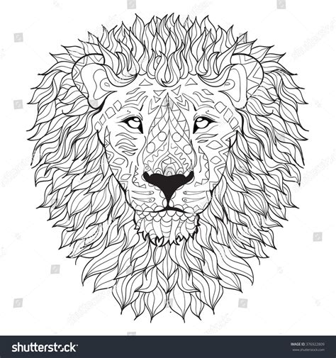 Hand Drawn Lion Head Isolated On Stock Vector 376922809
