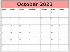 October 2021 Calendars That Work