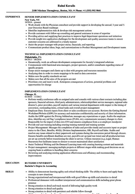 Implementation Consultant Resume by Implementation Consultant Resume Sles Velvet