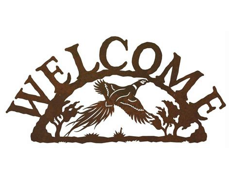 bed bath and beyond metal wall decor flying pheasant bird metal welcome sign rustic outdoor