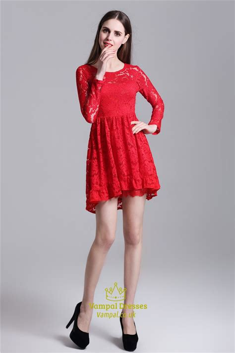 red cute illusion long sleeve short   lace homecoming