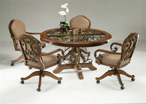 Dinette Table And Chairs by 5 Dinette Set With Caster Chairs Cherry Finish