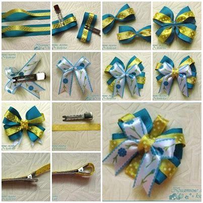 diy satin ribbon bow hair clip