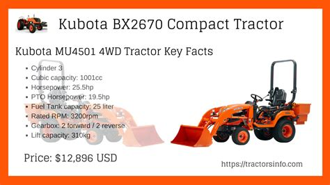 Kubota Bx2670 Compact Tractor Price Attachments Specs Review