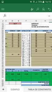 Hoja Excel C U00e1lculo De Tableros El U00e9ctricos Tablas D Carga