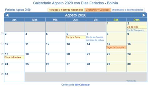 calendario agosto imprimir bolivia