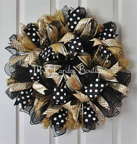 black  gold deco mesh wreath ucf door decor college