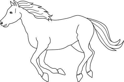 Galloping Horse Coloring Page Free Clip Art