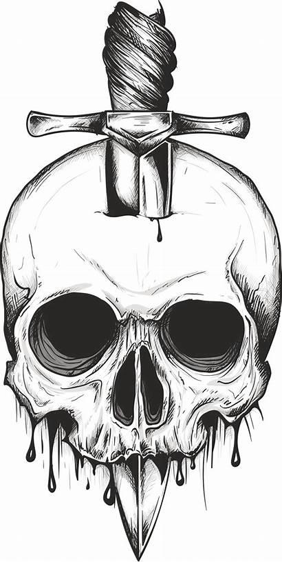 Skull Sword Vector Stencil Drawings Drawing Svg